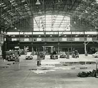 Inside the factory building
