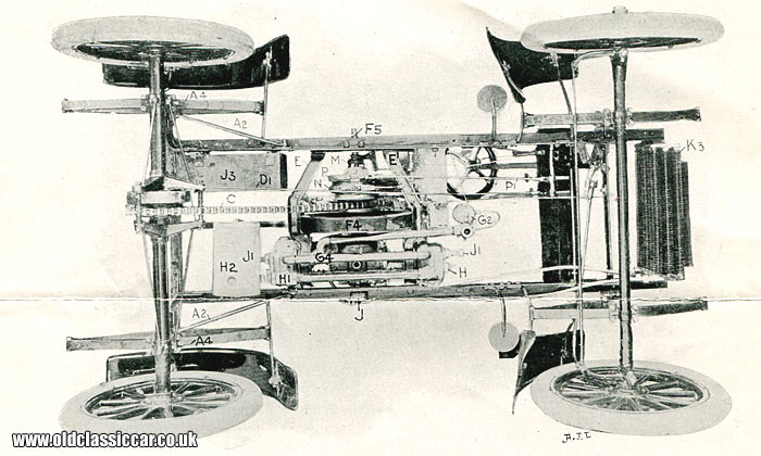 Overhead view of the chassis and engine layout