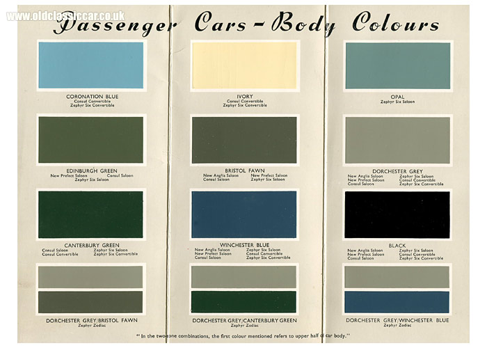 Range of colours available to car buyers