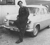 1954 Ford Consul outside a corrugated tin garage