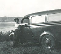 The Ford van overlooking a beach