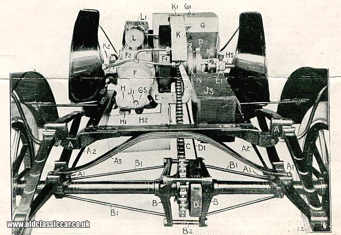 Rear view of chassis and suspension