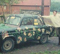 A Ford Prefect in flower-power livery