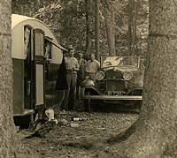 Ford Model B and caravan, in 1935