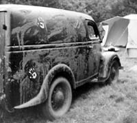 The old van covered in mud