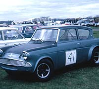 Race-prepared Anglia at RNAS Yeovilton in 1970
