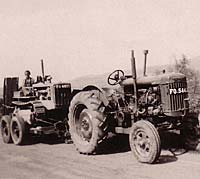 Fordson tractor towing a crawler