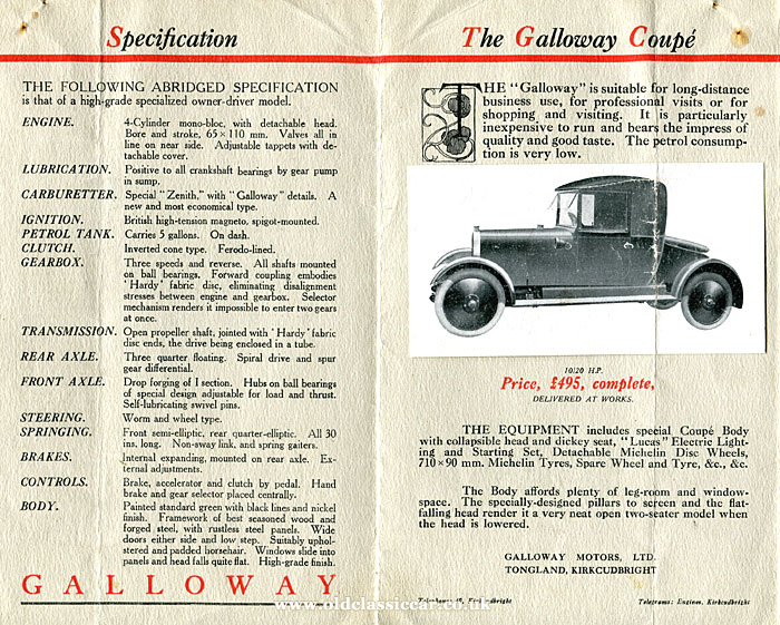 1921 Galloway car brochure
