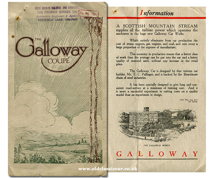 Galloway Coupe leaflet from 1921