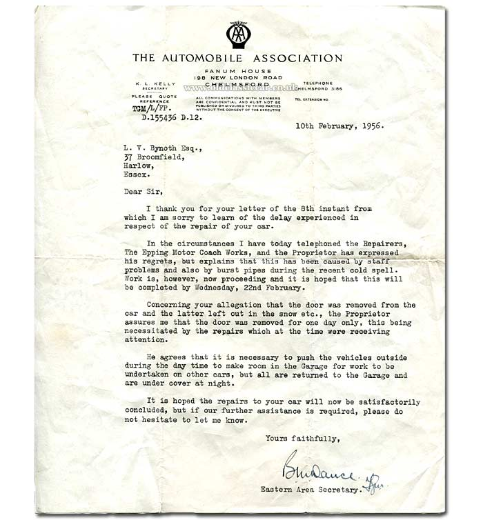Correspondence regarding the Epping Motor Coach Works, 1956
