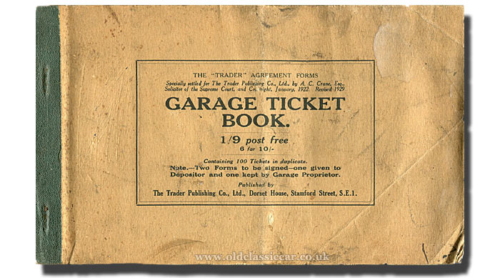 Garage ticket book