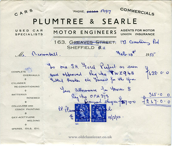 Receipt from Plumtree & Searle of Sheffield