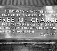 An old garage sign