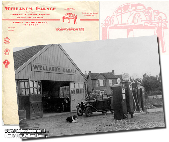 Letterheading and photo of Welland's Garage