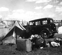 Period camping scene