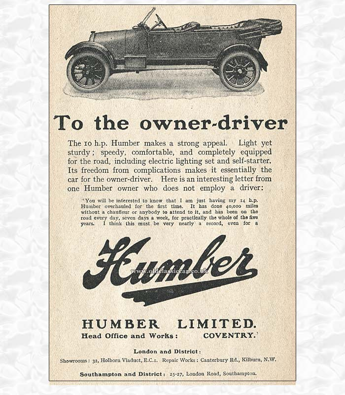 1920s advert for the Humber 10hp car