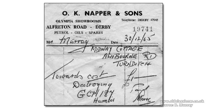 Receipt for the scrapping of a Humber Hawk in 1965