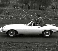 DJ Tony Blackburn in an E-Type