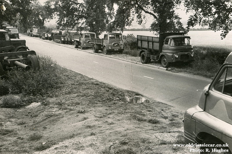 Lorries & cars at Rush Green Motors in the 1960s