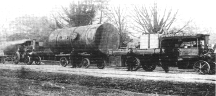 Steam lorry at work