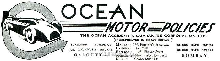 Ad for Ocean Motor Policies of Calcutta & Bombay