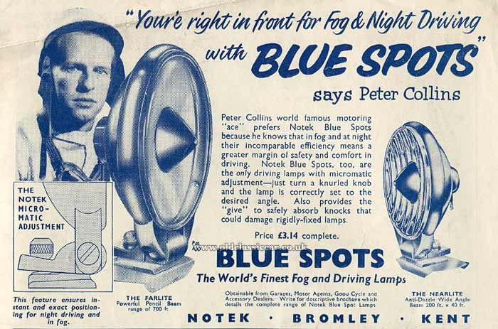 Peter Collins endorsed the Notek Blue Spot lamps