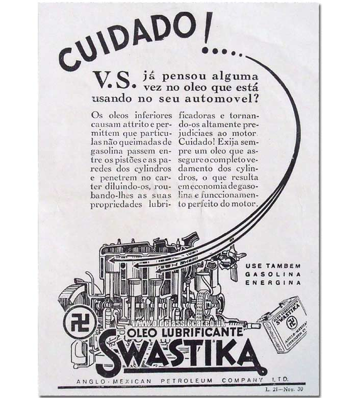 Advert for Swastika oil
