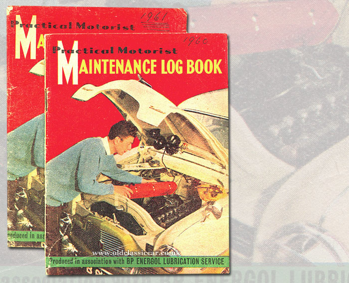 Car maintenance log books from the 1960s