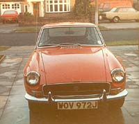 MGB GT chrome bumper front view