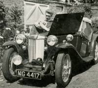 A second view of the 1935 MG being worked upon