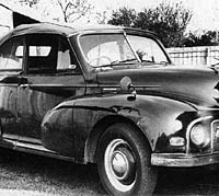 Front view of the Morris Minor Lowlight Tourer