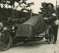 A motorcycle adapted to carry injured servicemen in WW1