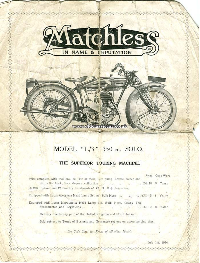 Matchless sales brochure cover