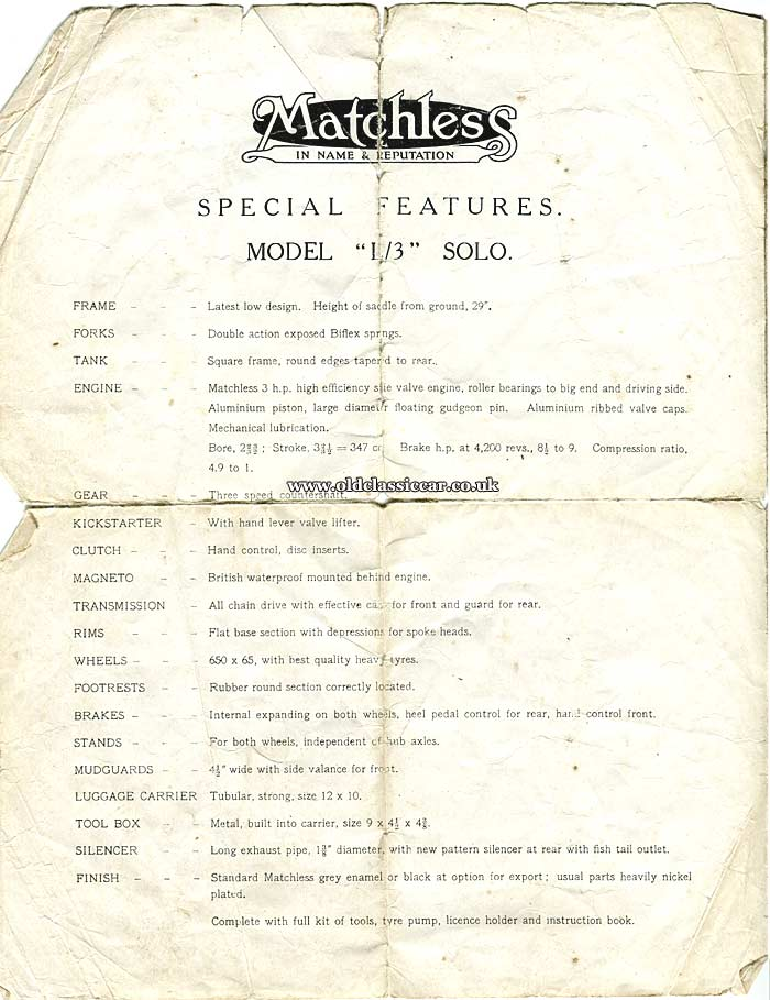 The motorcycle's specification list