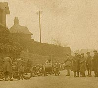 A vintage meeting of motorcycles in the 1920s