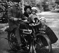 A motorcyclist with his sidecar combination