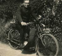 A man on his motorcycle