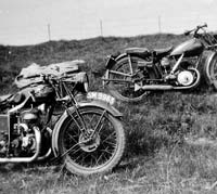The Velocette and a James motorcycle together