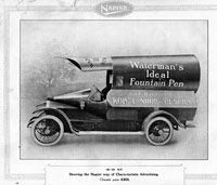 Coachbuilt advertising van in the shape of a fountain pen