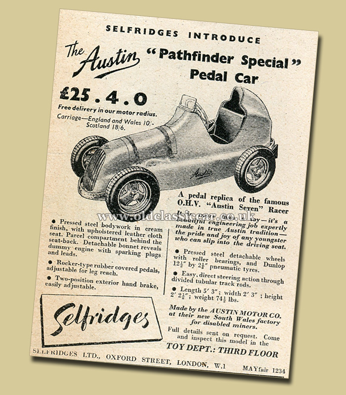 Announcing the new Pathfinder pedal car in 1949