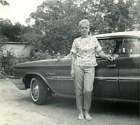 Lady with 1960 Chrysler Windsor