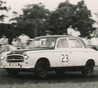 Peugeot 403 being raced in the 1950s