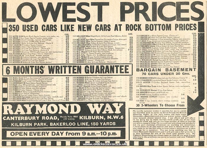 Pre-war car sales advertisement