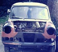Front view of the Riley Elf van