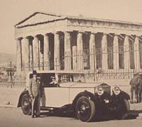 Parked outside the Acropolis, Parthenon in the background
