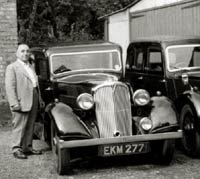 1938 Rover 10 parked alongside a Lanchester