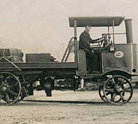 Vintage steam lorry and the driver