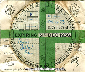 1936 tax disc with selvedge