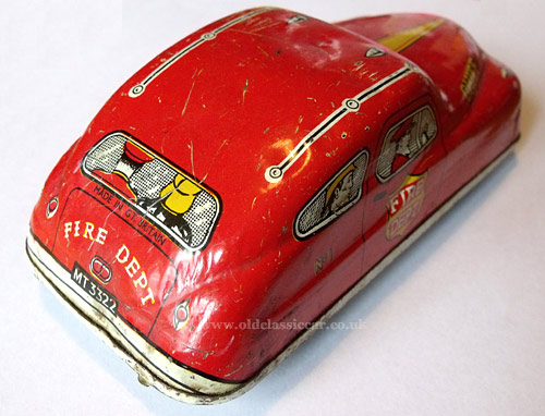 Rear corner view of this toy car