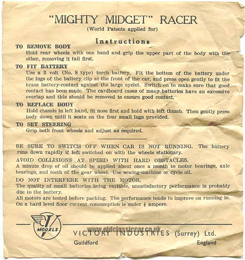 Instruction sheet for the Mighty Midget racer